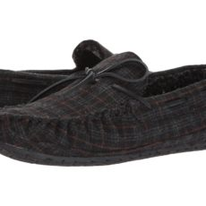 Minnetonka Casey (Charcoal Plaid) Men's Slippers