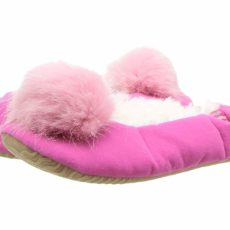 Joules Kids Velvet Ballet Slipper with Pom Pom (Toddler/Little Kid) (True Pink) Girls Shoes