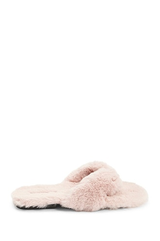 Forever 21 Qupid Faux Fur Thong Slippers Pink